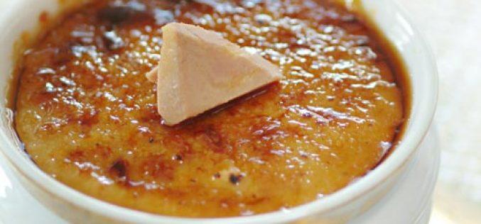 Recette : crème brûlée au foie gras et fruits secs concassés