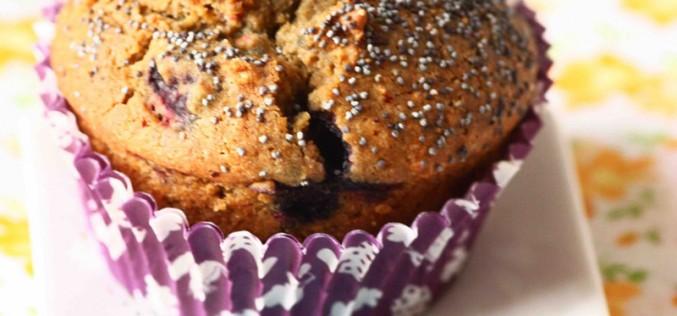 Recette au lait d'amande : Muffins aux myrtilles, pavot bleu