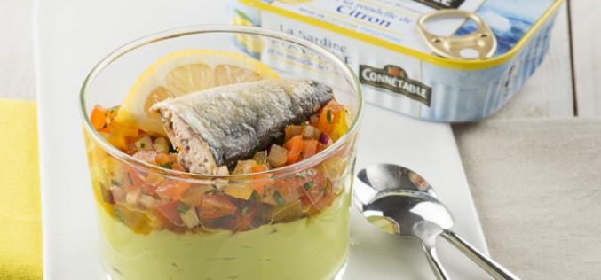 Recette : verrine multicolore à la Sardine nature et sa rondelle de citron