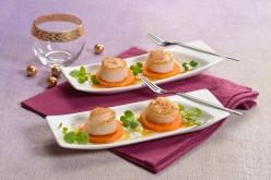 Recette de fête : Noix de St Jacques sur patate douce, sauce miel-orange