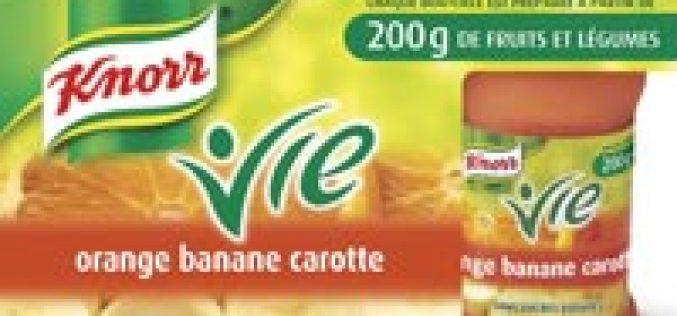 Knorr Vie, les fruits en petites bouteilles