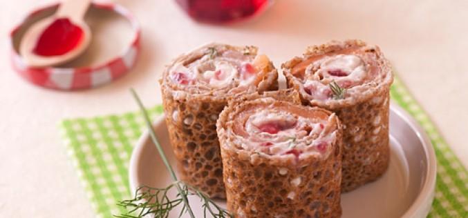 Recette Chandeleur : galettes de sarrasin au saumon, aneth, ricotta et Gelée de Groseilles, façon Maki