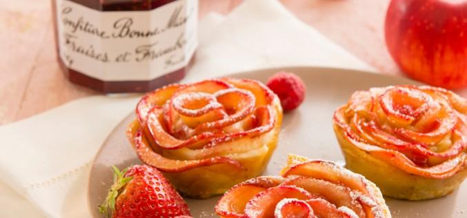 """Recette des tartelettes de pommes, confiture fraises-framboises """"façon roses"""""""